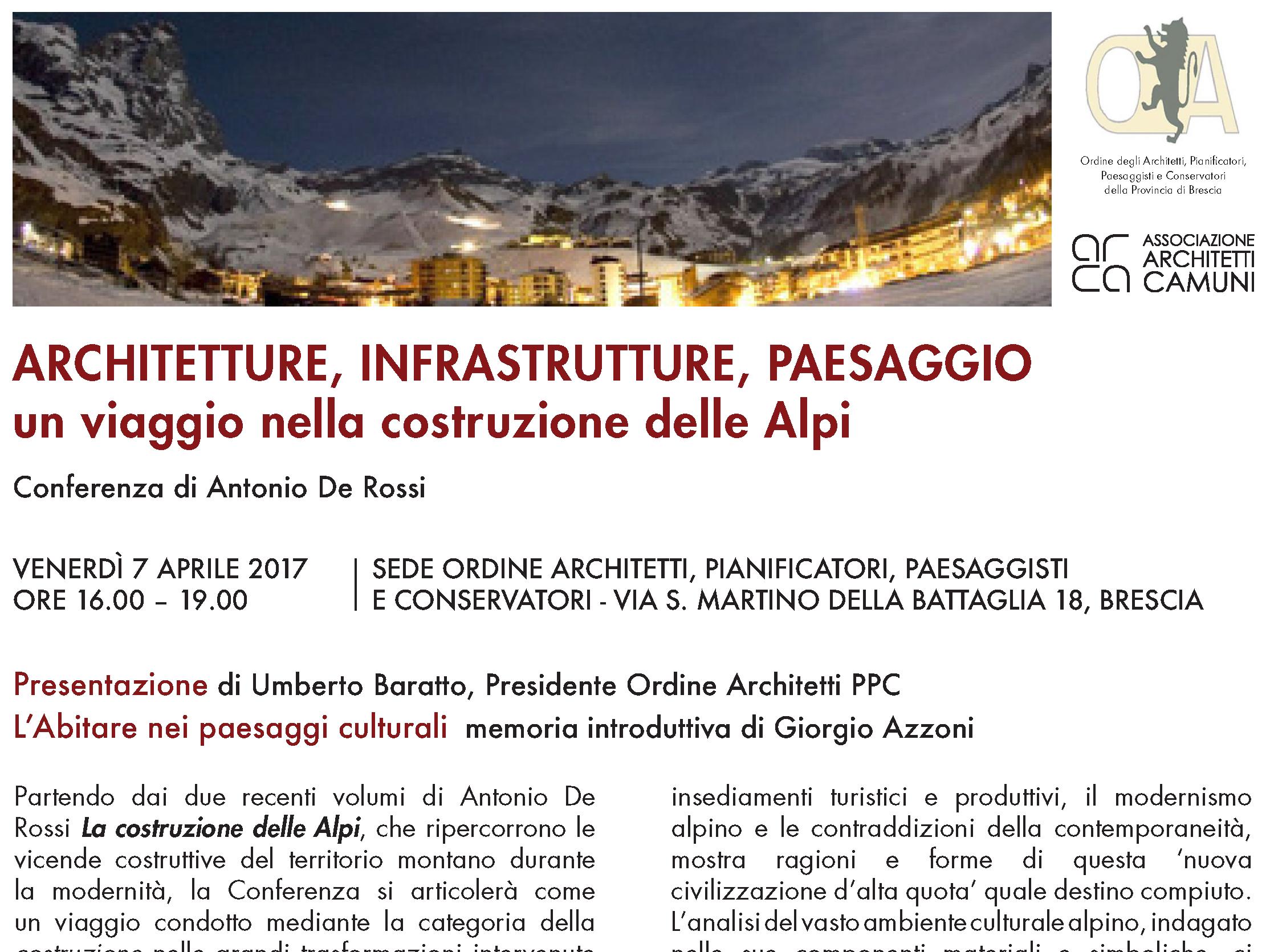 Ordine Architetti Brescia Lavoro 07 aprile 2017 - architetture, infrastrutture, paesaggio un