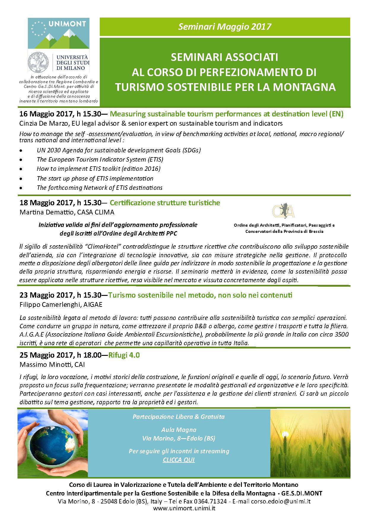 """Ordine Architetti Brescia Lavoro 2017.05.18_seminario: """"certificazione strutture turistiche"""