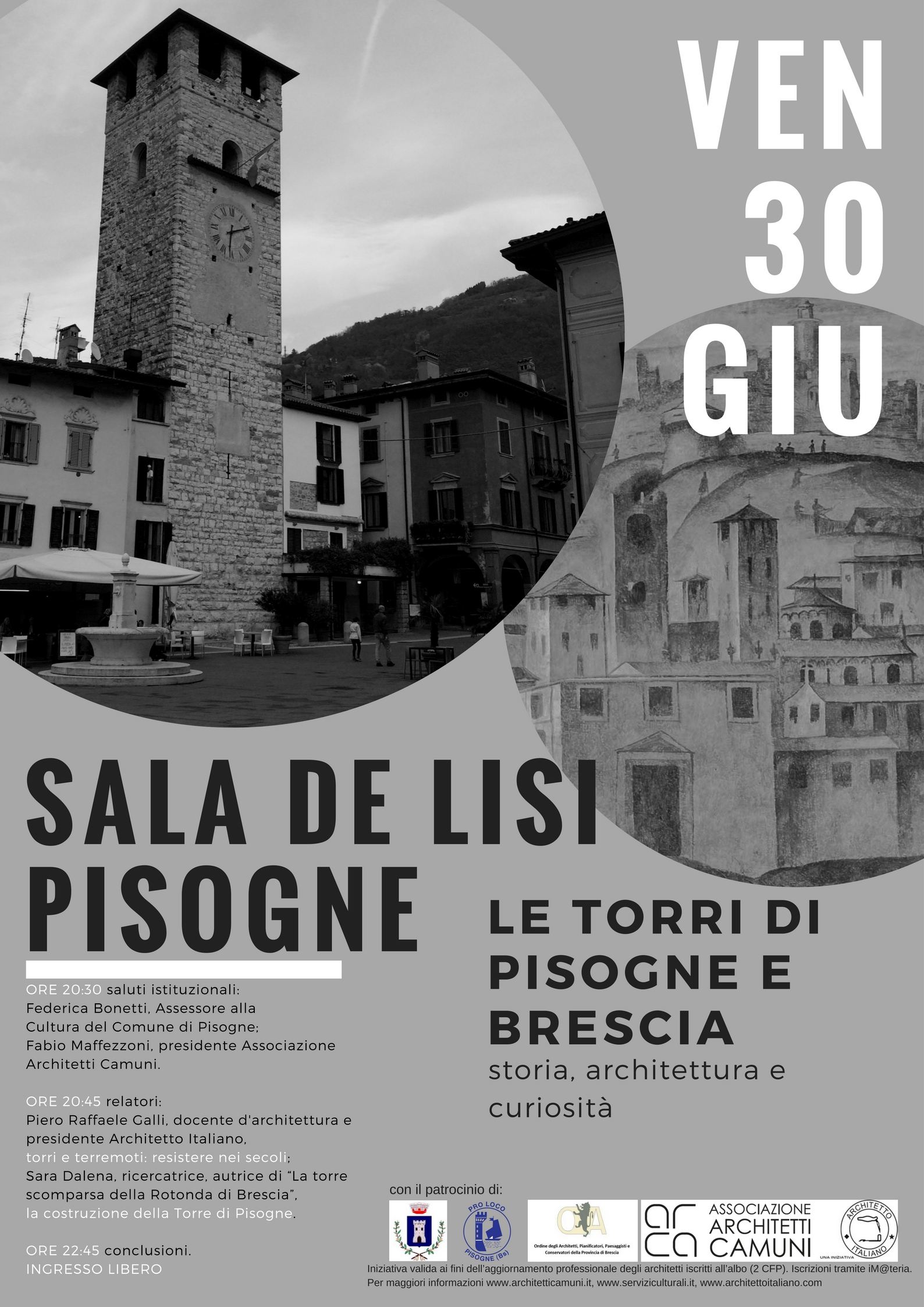 """Ordine Architetti Brescia Lavoro 2017.06.30_seminario """"le torri di pisogne e brescia"""